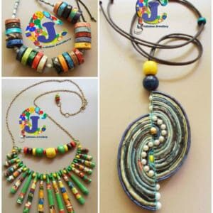Upcycled magazine paper jewellery 1